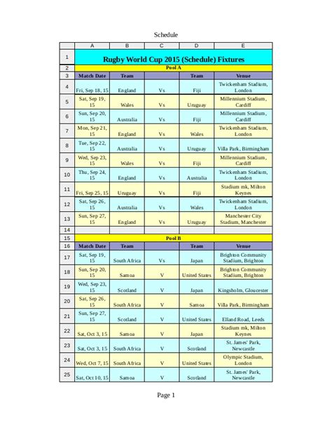 printable calendar rugby world cup 2015 rugby world cup 2015 schedule in pdf