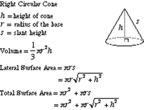 area of a cone section mathwords right circular cone
