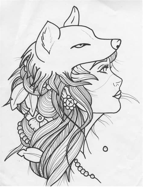 hot tattoo outlines outline wolf girl tattoo design idea by bbschoes