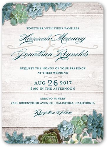 splendid succulents 5x7 wedding invitations shutterfly