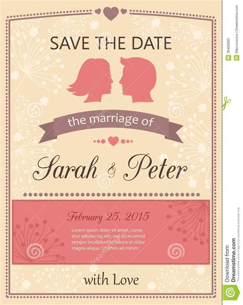 invitation illustrator template save the date wedding invitation card stock vector image