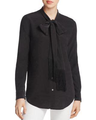 Essential Tie Neck Blouse equipment essential tie neck top in black in true black