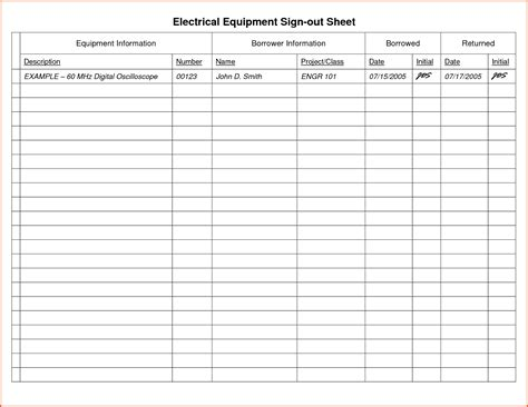 equipment sign out sheet template madrat co