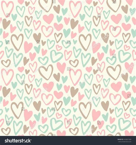 vintage heart pattern valentines day vintage seamless background doodle stock