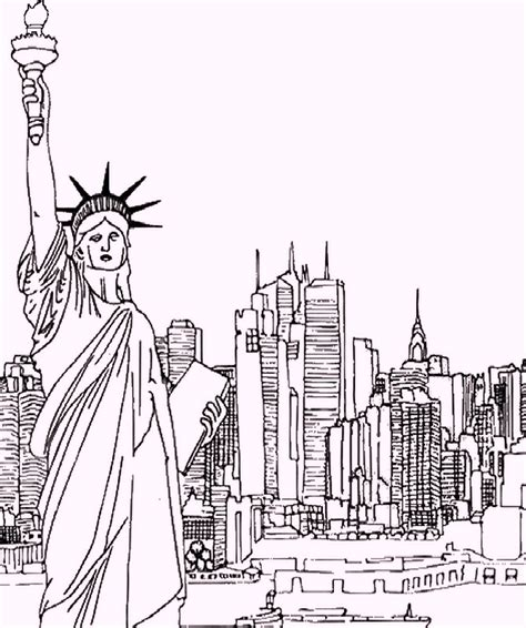 new york coloring book pages statue of liberty as landmarks in newyork coloring pages