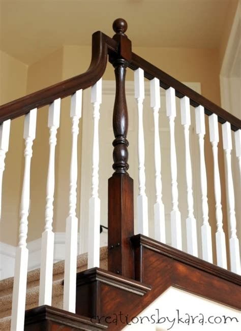 oak banister diy staircase makeover with stain and paint