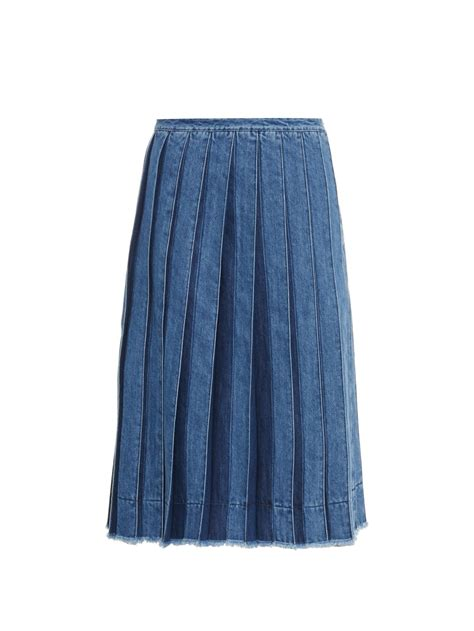 joseph pleated denim skirt in blue lyst