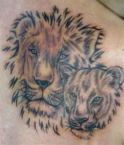 lion and lioness tattoo lioness