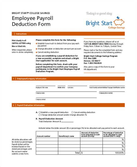 payroll section department of education payroll deduction form template 10 free sle exle