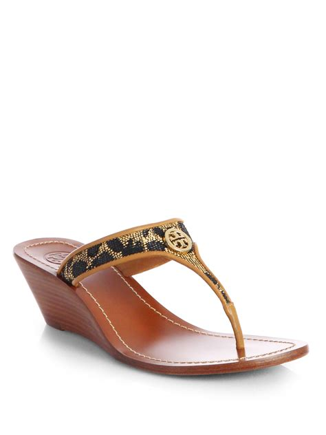 wedge sandals burch cameron leopardprint leather wedge sandals in