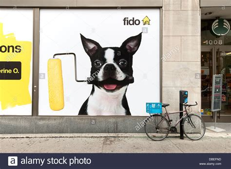 fido mobile advertisement for fido mobile phones in a store window