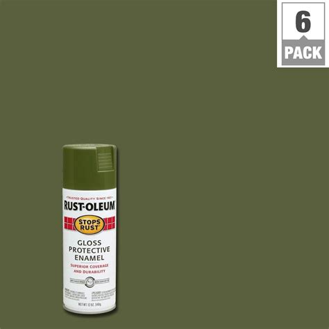 rust oleum stops rust 12 oz protective enamel gloss army green spray 6 pack 214087 the home
