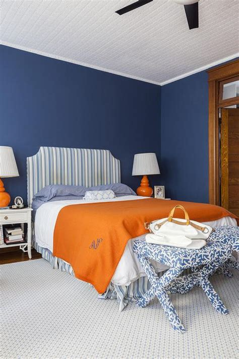 Blue And Orange Bedroom | blue and orange bedroom design transitional bedroom