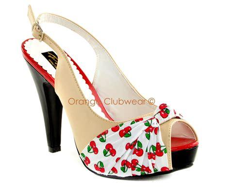 50s style high heels pinup 50s retro style womens platform cherry