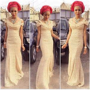 Select a fashion style trending french lace dress styles at nigerian