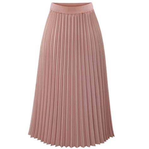 midi pleated skirt elastic waist