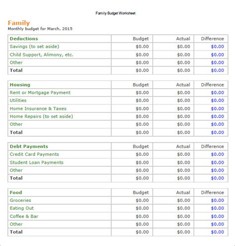 monthly family budget template monthly budget worksheet pdf lesupercoin printables