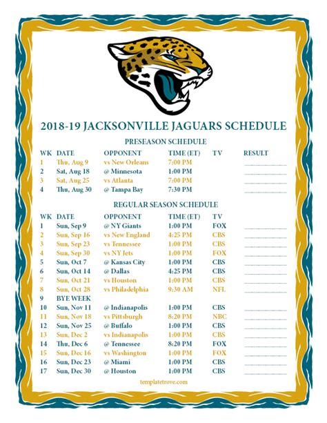 jaguar schedule 2020 printable 2018 2019 jacksonville jaguars schedule