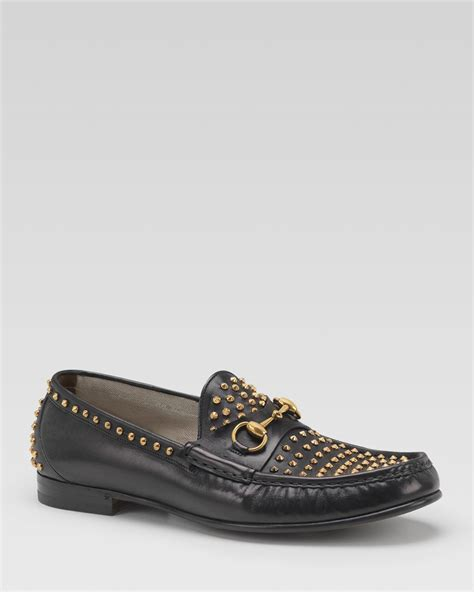 black loafers with gold studs gucci leather loafer with gold studs in black for lyst