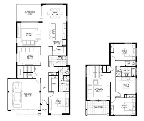 free 4 bedroom house plans and designs unique two story