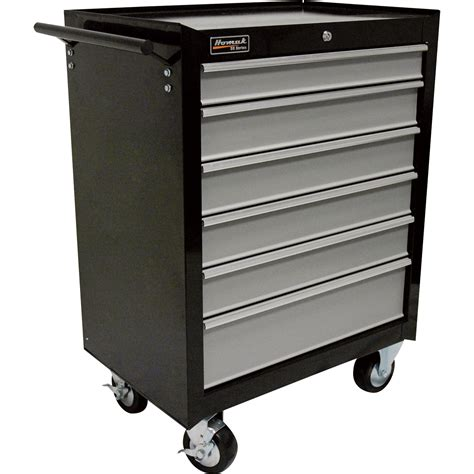 tool chest homak se series 27in 6 drawer rolling tool cabinet black 27in w x 18in d x 37in h model