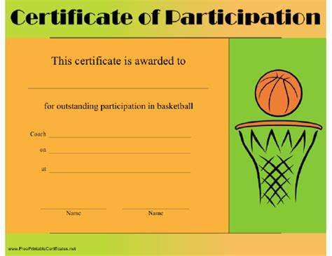 basketball certificates templates free 10 best images of free editable printable basketball