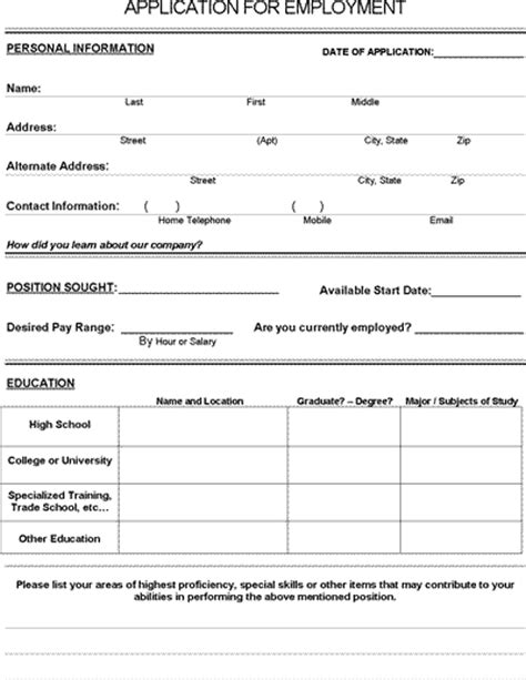 printable job application for teenager job application form pdf download for employers life