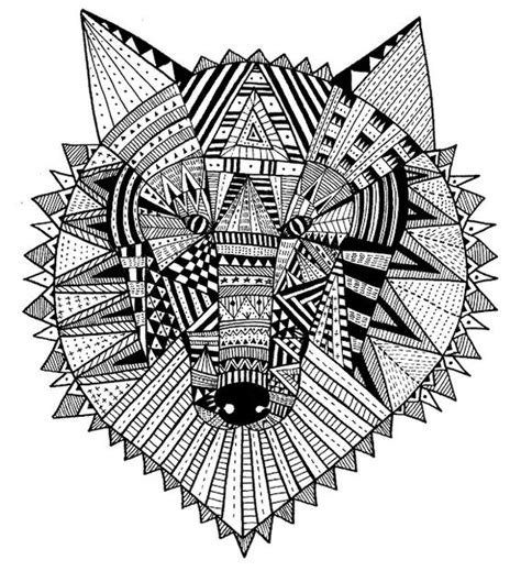 geometric wolf coloring pages geometric animals my illustrations pinterest