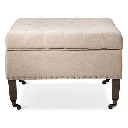 industrial ottoman large tufted ottoman with casters cream the industrial