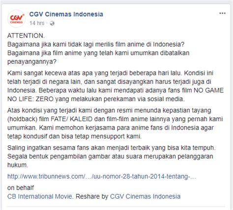 cgv fate kaleid pihak cgv cinemas geram akibat ulah salah satu quot wibu quot di