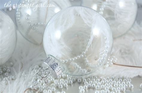 white ostrich feather christmas ornament