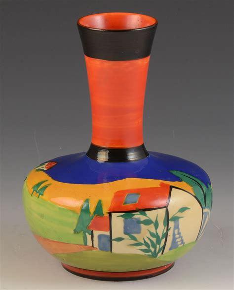 Clarice Cliff Vase Shapes by Clarice Cliff Blue Lugano Shape 73 Vase C 1930