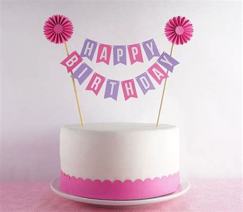 cake bunting in pink green happy birthday with rosette minis birthdays and happy