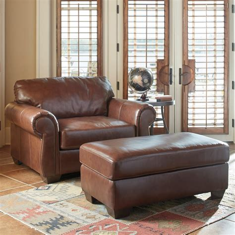 ashley leather chair and ottoman signature design by ashley lugoro leather match chair and