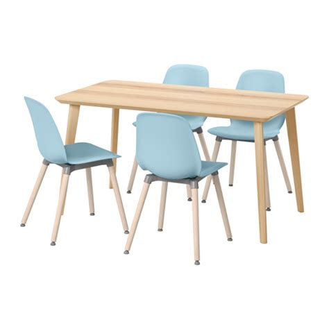 leifarne lisabo table and 4 chairs ash veneer light blue