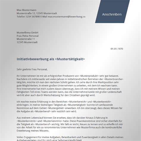 Initiativbewerbung Vorlage   Bewerbung.co