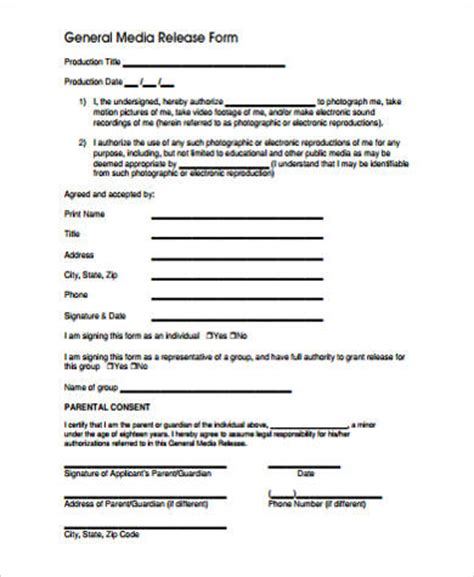 media release form 9 sle media release forms sle templates