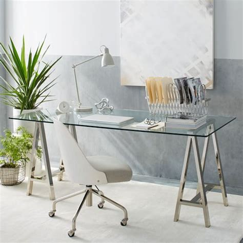 west elm glass desk cross base desk polished nickel west elm