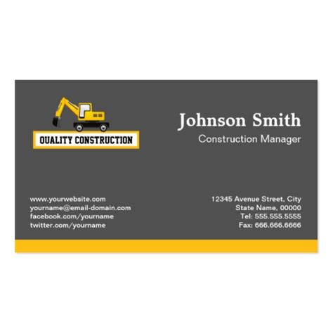 calling card template construction construction manager yellow excavator business card