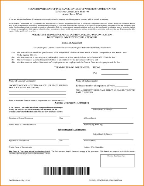 contractor contract template independent contractor