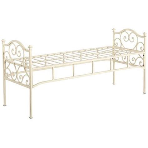white end of bed bench scroll bench antique white end of bed with thick cushion