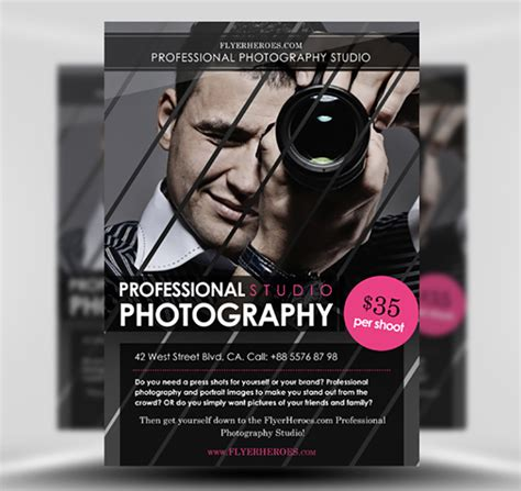 Free Photography Flyer Template Flyerheroes Photography Template