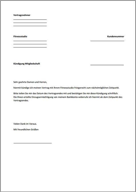 Musterbrief Kündigung Handyvertrag Kostenlos K 252 Ndigung Fitnessstudio Vorlage Text Word Pdf
