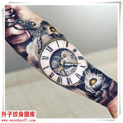 花臂纹身 欧美写实钟表花纹身图案 升子纹身
