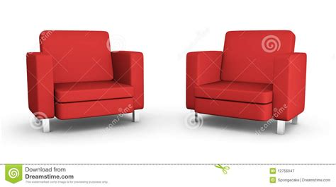 Red Modern Armchair Modern Interior With Furniture Two Armchairs Stock