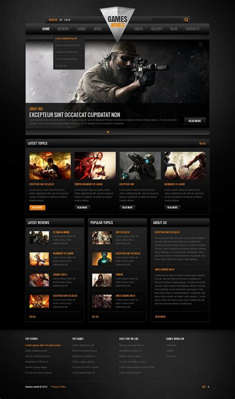 game website layout game portal facebook html cms template 42273