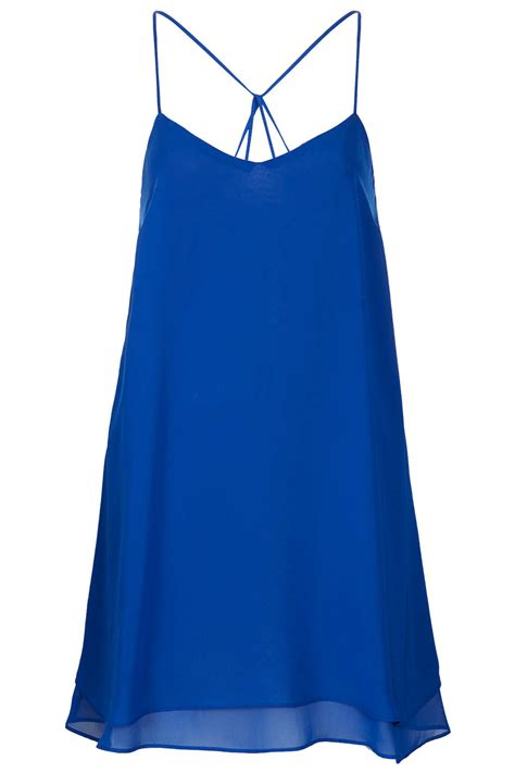 chiffon swing dress topshop chiffon swing slip dress in blue lyst