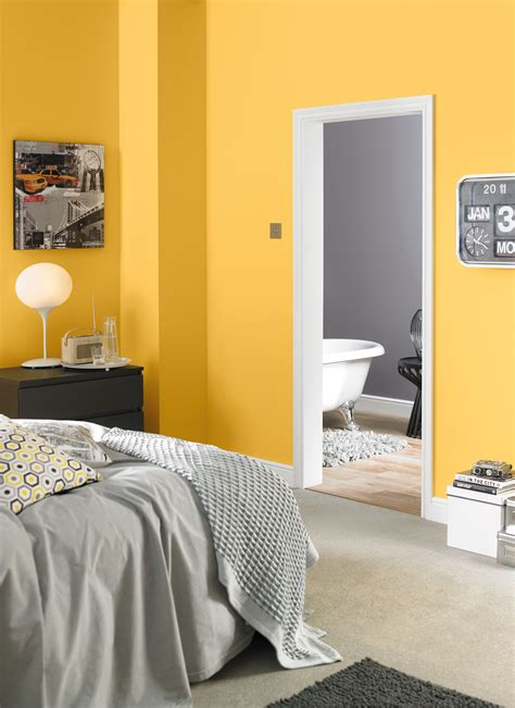 Yellow Painted Bedrooms by Yellow And Grey Bedroom Painted With Crown One Coat