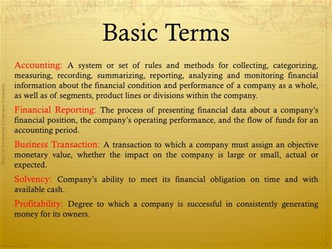 Basic Financial Terms For Mba by Accounting In Insurance Companies Basic Concepts