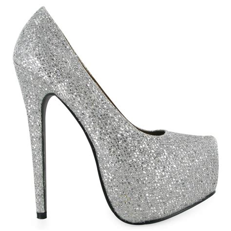 High Heels Gliter Silver womens glitter silver shiny high heel platform stiletto shoes size 3 8 uk ebay